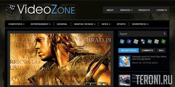 Кино шаблон WordPress - VideoZone
